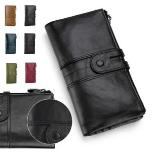 Women's Long Vintage Real Leather RFID Blocking Wallet Zip Coin Purse Clutch Bag