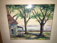 Hazel B Simmons California Artist Watercolor Wpa Era Colorful Landscape Listed!