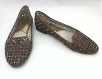 MICHAEL KORS Loafers Flats Brown Perforated Logo Mini Studs Womens US 10/40 $150