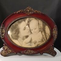Decorative Antique-Victorian Style Oval Picture Frame Faux Wood Bubble Glass