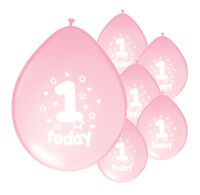 "20 X 1ST BIRTHDAY GIRL BALLOONS ""1 TODAY"" FIRST BIRTHDAY BALLOONS LIGHT PINK"