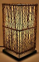 "Vintage Stick Wicker Rectangular Table Lamp approx 14.25"" Tall w/ Bulb"