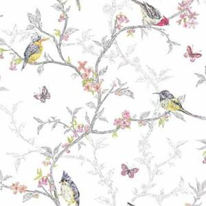Phoebe White Multicoloured Birds Wallpaper by Holden Statement Feature 98080