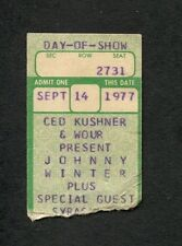 1977 Johnny Winter concert ticket stub Syracuse Ny Nothin But The Blues