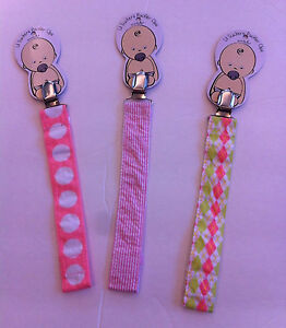 Mud Pie Lil Suckers Baby Girl Pacifier Clips, NEW w/Tags