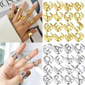18K Gold Bold Initial Letters Alphabet Personalized Open Ring Adjustable Women