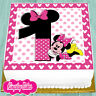 PRECUT EDIBLE ICING 7.5 INCH MINNIE MOUSE 1ST HAPPY BIRTHDAY CAKE TOPPER NS0993