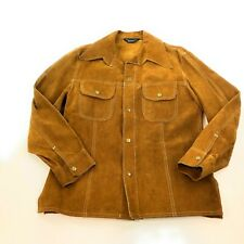 VTG 70s JC Penny Men Heavy Leather Chore Hunting Welding Jacket Coat Sz S USA