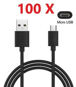Wholesale Lot 10-100 Micro USB Cable Charger Cord Samsung Galaxy S5 S6 S7 Black
