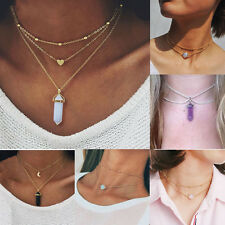 Fashion 3 Layer Crystal Opal Natural Stone Heart Moon Pendant Choker Necklace