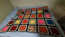 "Vintage Multicolor Granny Square Afghan Crochet Blanket Handmade 60""X51"" Throw."