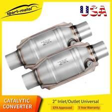 2x Universal High Performance 2 Exhaust Catalytic Converter Weld On Cat 99204hm