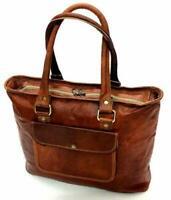 Womens artistic  Genuine Brown Leather Messenger Shoulder Cross Body Bag