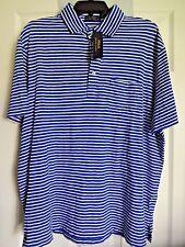 Polo Ralph Lauren Mens Polo Shirt XL Blue White Striped Short Sleeve Cotton NWT