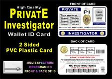 Private Investigator Wallet ID Card >CUSTOM WITH YOUR INFO & PHOTO< PVC PI ID