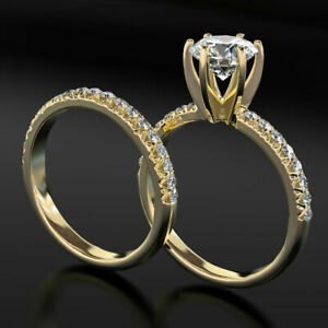 ROUND CUT 1 3/4 C VVS2 ACCENTED DIAMOND 18K YELLOW GOLD RING BAND SET ENGAGEMENT