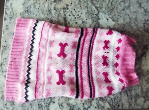Adorable PINK Knitted Striped Sweater Dog M New pet  puppy MEDIUM