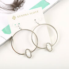 NEW Kendra Scott Elora Silver Hoop Earrings In White Pearl