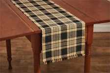 Primitive Country Millbury Table Runner 13X54 Black Mustard Tan Ribbed Cotton