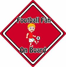Football Fan On Board Car Sign ~ Baby On Board Safety Sign ~ Blonde Boy Red