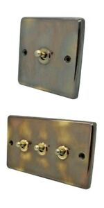 Aged Antique Brass Toggle Lightswitch Dolly Light Switches 2 Way & Intermediate
