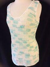 Women's Ribbon Knit Crochet Effect Sleeveless Vest Jumper Top