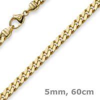 5mm Panzerkette Kette Collier diamantiert, 750 Gold Gelbgold massiv, 60cm