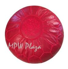 MPW Plaza Pouf, Ruby Red, Moroccan Leather Ottoman (Stuffed)