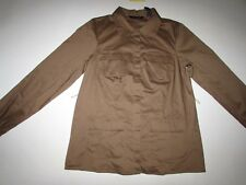 Dialogue Women's Button Front Shirt Medium NWT Long Sleeves Brown Cotton QVC M