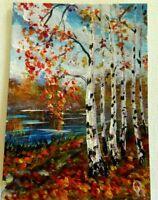 ACEO Original Acrylic Painting Landscape Birch Trees in Fall Artist Olga Diduh.