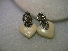Vintage Silver Tone Double Heart Stud & Dangle Clip Earrings