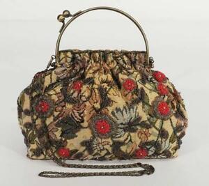 Vintage Handtasche mit Brokat und Glasperlen bestickt