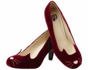 T.U.K. A8968L Sophistakitty Kitty Ears Burgundy Velvet High Heel Shoes UK SIZE 6