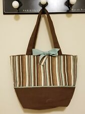 Stitch Trend Woman's Shoulder Purse Hand Bag Chocolate, Brown, Sky Blue & Ivory