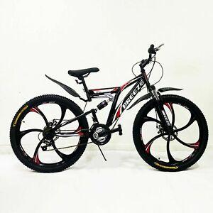 "BREEZE™ MEN WOMEN 21 SPEED 26"" MTB FRAME FULL SUSPENSION MOUNTAIN BIKE BICYCLE"