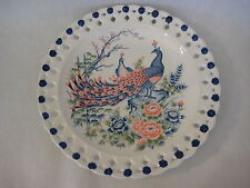 """Vintage Hand Painted Peacock Platter Plate, 12 3/4"""" D X 1 1/2"""" H"""