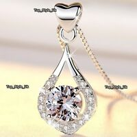 XMAS GIFTS FOR HER Heart & Diamond Necklace Girlfriend Mother Daughter Girls Z7