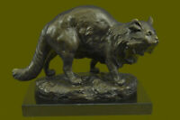 Handmade Vintage Bronze Home Art Deco Cat Statue Plinth Lost wax Method Figure