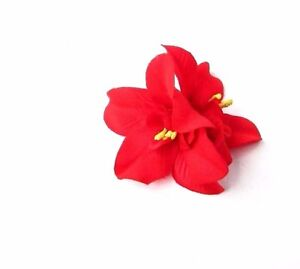 Double Red Orchid Flower Hair Clip Rockabilly 1950s Headpiece Fascinator 2785