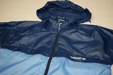 Adidas Regen Jacke Windbreaker Vintage 80s Rain Jacket Coat Glanz Blau Nylon 38
