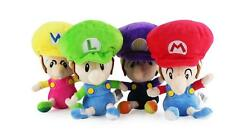 4PCS Super Mario Bros Run Baby Mario Luigi Wario Waluigi Plush Toy oft Doll 6""