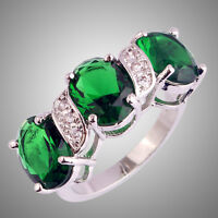 Unisex Jewelry Emerald Quartz & White Topaz Gemstone Silver Ring Size L N P R T