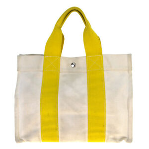 Auth Hermes Bora Bora PM Canvas Tote Bag Yellow 09GC394
