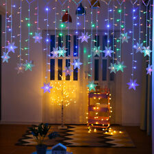 7 Color Xmas LED Snowflake Fairy String Curtain Window Lights Outdoor Waterproof