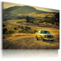 FORD MUSTANG YELLOW Sport Cars Wall Art Canvas AU618 MATAGA UNFRAMED-ROLLED
