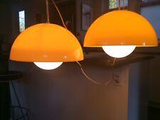 "2 Mid Century Modern 12"" Dia. Acrylic Verner Panton Hanging Flowerpot Lamps"