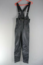 "HEIN GERICKE BLACK LEATHER BIKER TROUSERS WITH BRACES: WAIST 26""/INSIDE LEG 27"""