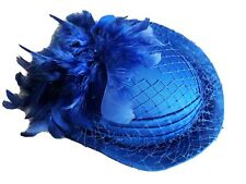 Kingfisher Blue Feather Ladies Races Hat Party Wedding  Royal Ascot