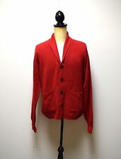 ORVIS Mens True Red 3 ply Cashmere Shawl Collar Vneck Cardigan Sweater Size L