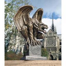 Medieval Fierce Gargoyle Guardian On Celtic Plinth Garden Statue